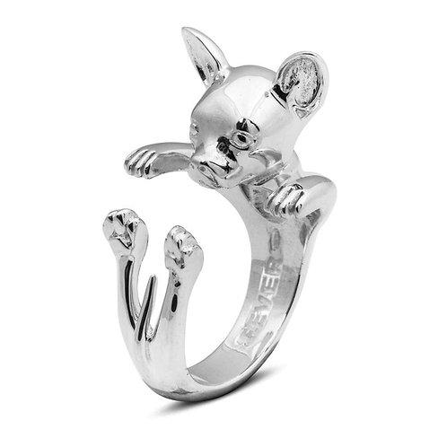 Silver Chihuahua hug ring