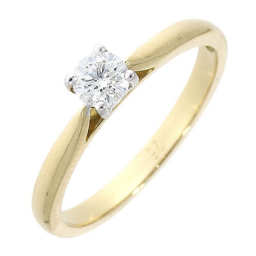 Diamond solitaire 18ct yellow gold ring