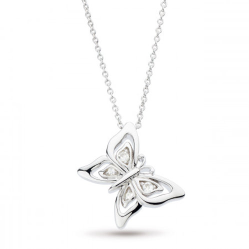Blossom Flyte Butterfly white topaz silver necklace