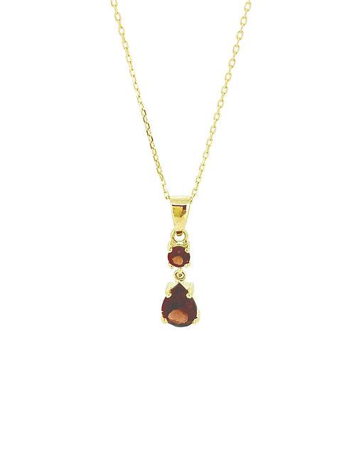 Double Garnet drop gold pendant