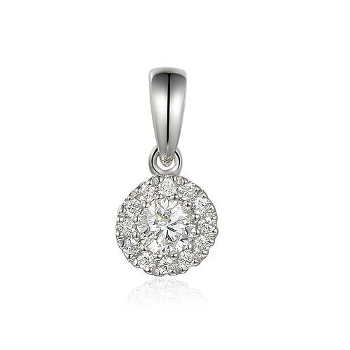 White Topaz and Diamond halo white gold pendant on chain