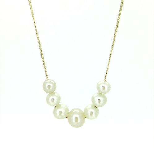 Graduated White Pearl gold necklace