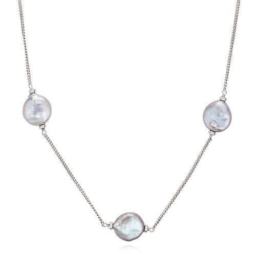 Luxe silver coin pearl necklace