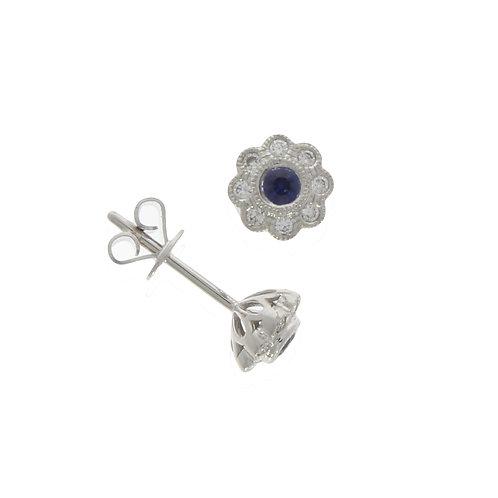 18ct Diamond and Sapphire round milgrain cluster stud earrings
