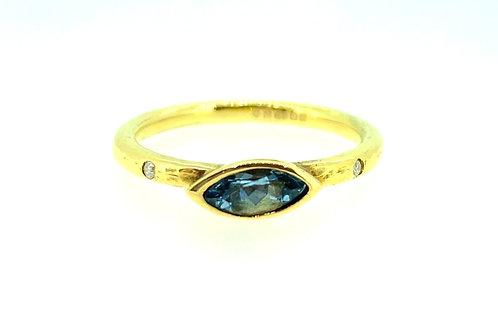 Aquamarine and Diamond marquise yellow gold ring