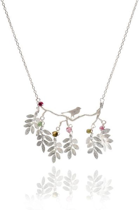 Silver Bird on Berry branches pendant