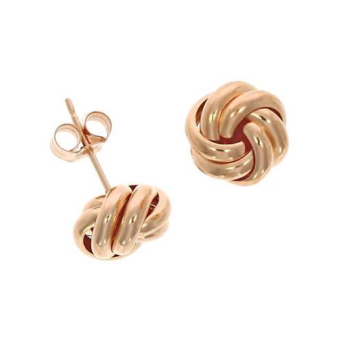 2 row knot stud earrings 9ct rose gold