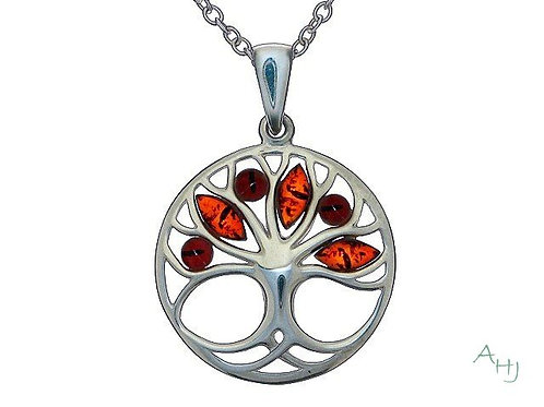 Mixed Amber round Tree of Life silver pendant on chain