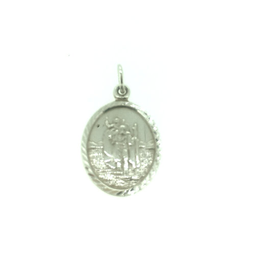 Silver oval St. Christopher pendant