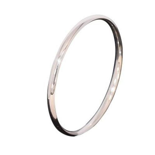 Oval court silver slave bangle