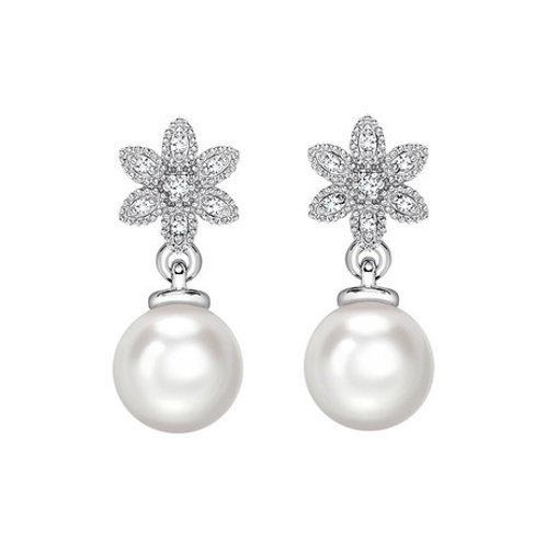 Pearl and Diamond Floral design drop earrings