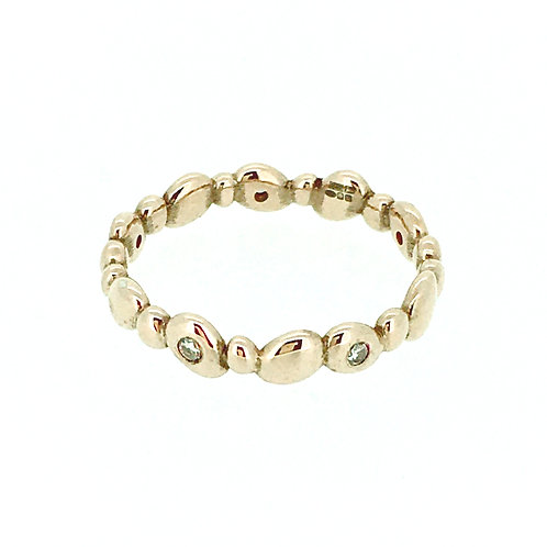 Rose gold plated silver Pebble ring with Diamonds
