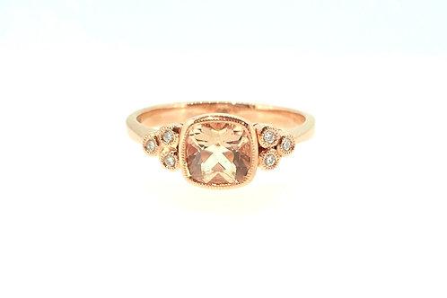 Morganite and trefoil Diamond rose gold ring