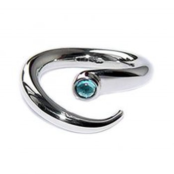 Curving Wiggly ring with topaz