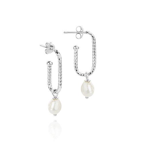 Helix Spiral pearl drop earrings
