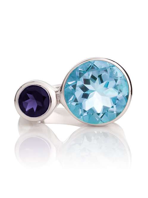 Lana iolite and blue topaz silver ring
