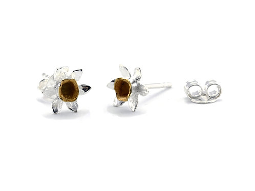 Daffodil silver and gold plate stud earrings