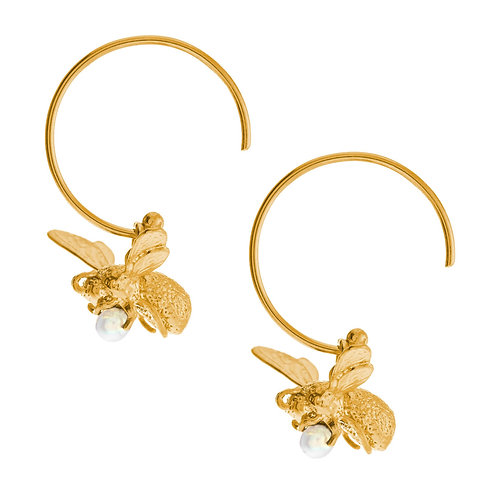 22ct Gold plated Flying Bee Hoop Earrings