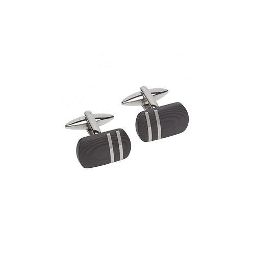 Mens Stainless Steel & Black Carbon Fibre Cufflinks