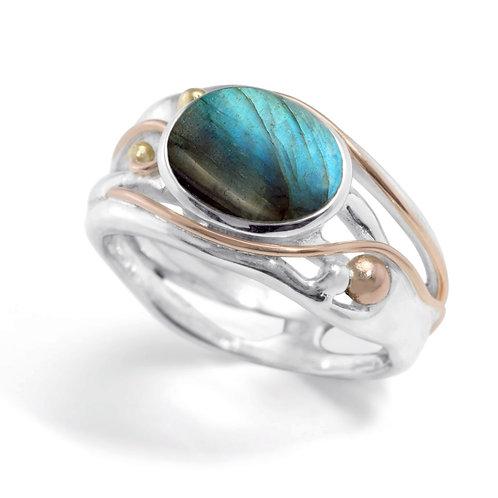 Labradorite silver and gold detail ring