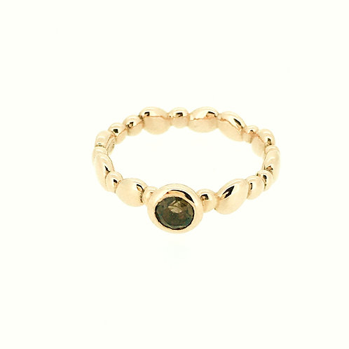Pebble rose gold plated silver ring with smokey quartz