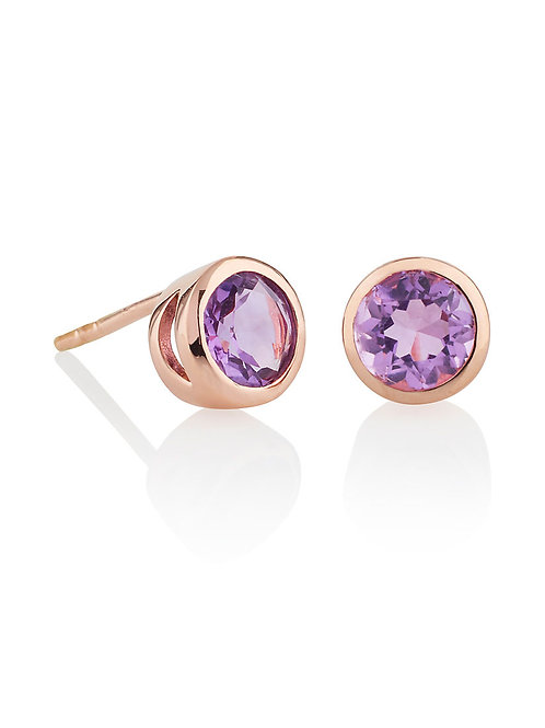 Juliet rose gold plate and amethyst stud earrings