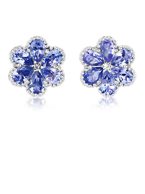 Tanzanite Flower stud earrings