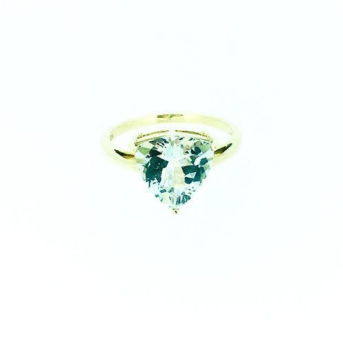 Aquamarine Trillion Gold ring