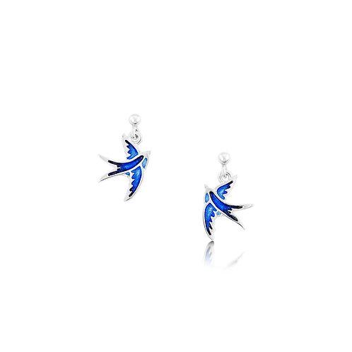 Swallows silver drop earrings