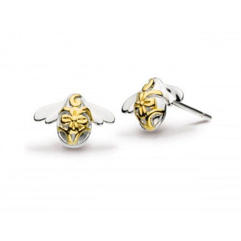 Blossom bumblebee gold plated silver stud earrings