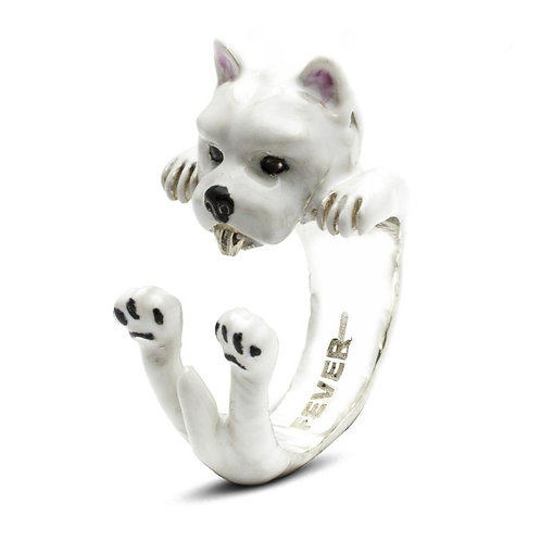 Silver enamelled West Highland Terrier hug ring