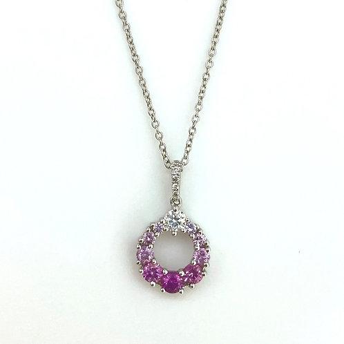 Graduated Pink Sapphire and Diamond Circle pendant