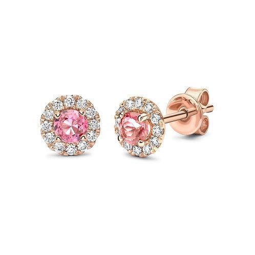 Pink Tourmaline and Diamond halo Rose gold earrings