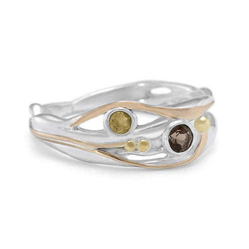 Smoky Quartz and Citrine silver ring with gold detail