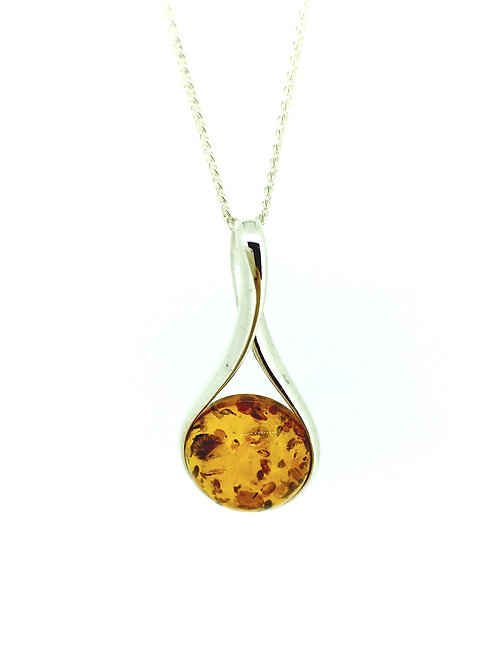 Baltic Amber and silver round loop pendant on silver chain