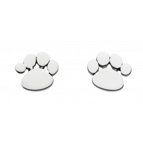 Charming Paw Print silver stud earrings