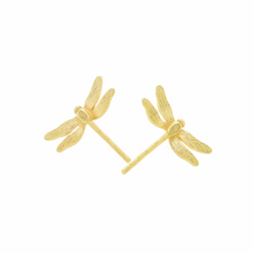 Enchanted Dragonfly gold plated silver stud earrings