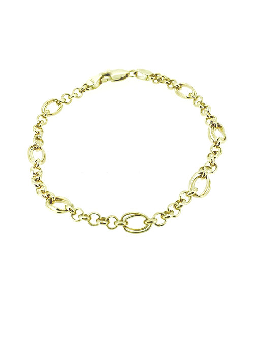 Oval and Round link 9ct gold bracelet