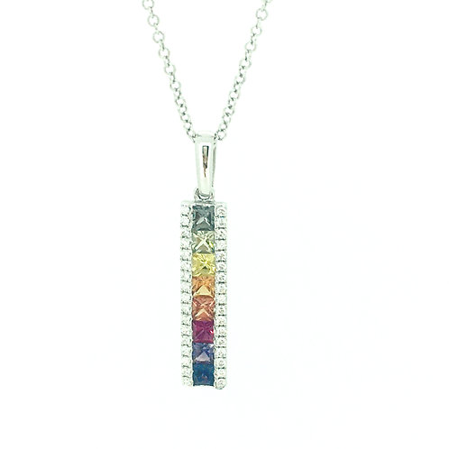 Rainbow Sapphire and Diamond 18ct White Gold Bar pendant