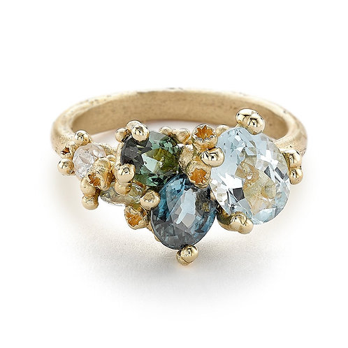 Asymmetric Aquamarine and Tourmaline gold ring with Barnacles