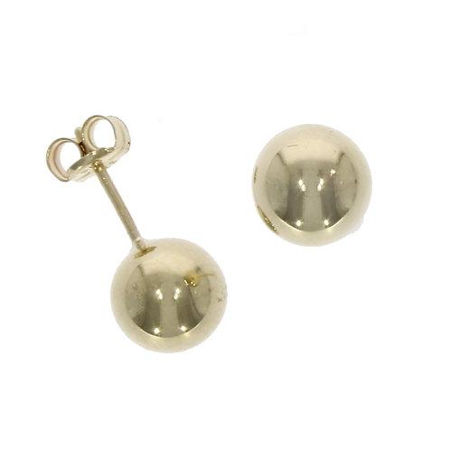 Yellow gold 7mm ball stud earrings
