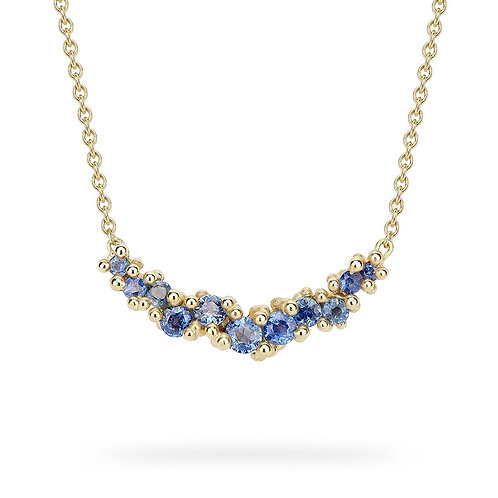 Sapphire and Granule Cluster Bar gold necklace