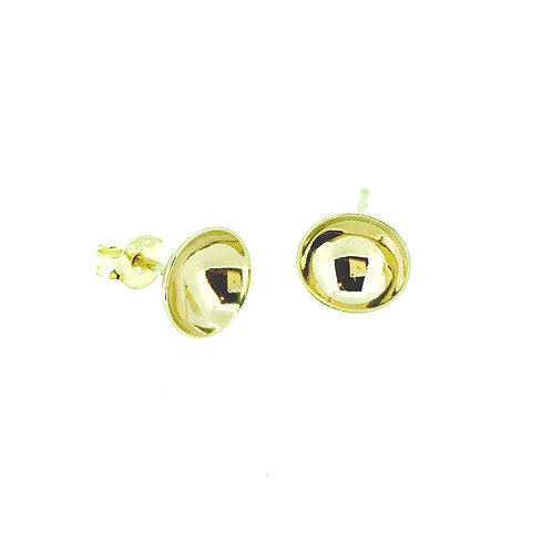 Gold cup stud earrings