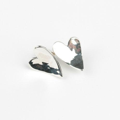 Medium silver Heart stud earrings