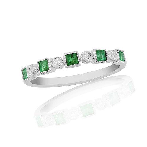 Emerald and Diamond Half Set 18ct White Gold Eternity ring