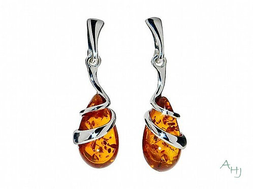 Amber pear drop Double Swirl drop earrings