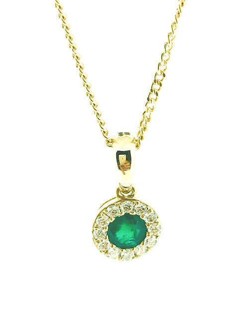 Emerald and Diamond cluster yellow gold pendant