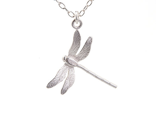 Enchanted silver dragonfly pendant