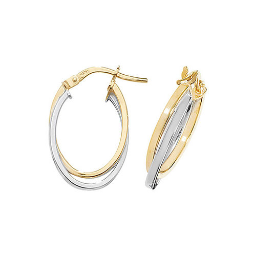 Bicolour Yellow and White Gold Double Hoop earrings
