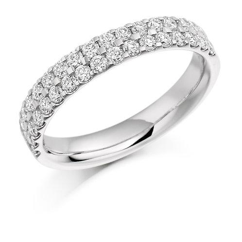 Two row Micro-claw set Diamond 0.75ct half Eternity ring